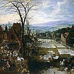 Mercado y lavadero en Flandes, Jan Brueghel The Elder