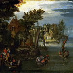 Jan Brueghel The Elder - A River Scene with Vessels and a Ferry