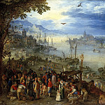 Jan Brueghel The Elder - Fish market on the river bank