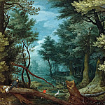 Jan Brueghel The Elder - A forest landscape with hunters giving chase to a stag