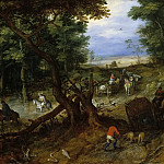 Jan Brueghel The Elder - A Woodland Road with Travelers