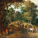 Busy path in woodland heights, Jan Brueghel The Elder