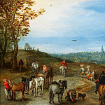 Jan Brueghel The Elder - Landscape with travellers