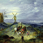 Landscape with Two Windmills, Jan Brueghel The Elder