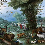 LANDSCAPE WITH THE ANIMALS ENTERING NOAHS ARK, Jan Brueghel The Elder