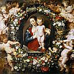 Jan Brueghel The Elder - Virgin and Child in a Garland of Flowers