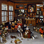 Jan Brueghel The Elder - The Archdukes Albert and Isabella Visiting a Collectors Cabinet