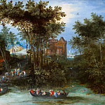 River village with landing stage, Jan Brueghel The Elder