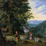 Jan Brueghel The Elder - Wooded Landscape with St. Hubertus