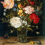 Jan Brueghel The Elder - Flower Vase with Mussels and Butterflies
