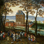 Landscape with the castle Mariemont Hainaut with the foreground archducal couple Albert and Isabella, Jan Brueghel The Elder