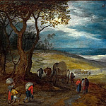 The hilly landscape with travelers and carts, Jan Brueghel The Elder