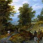 Jan Brueghel The Elder - WOODLAND ROAD WITH WAGON AND TRAVELERS