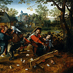 Jan Brueghel The Elder - Peasants fighting about a game of cards