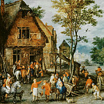 Jan Brueghel The Elder - Flemish village (the flight into Egypt)