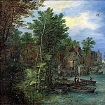 Jan Brueghel The Elder - View of a Village along a River