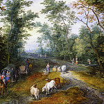 Jan Brueghel The Elder - Woodland Landscape with Travelers on a Path