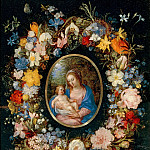 Virgin and Child in a Garland of Flowers, Hendrick van Balen