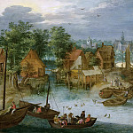 Jan Brueghel The Elder - Fishing village on the water