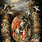 Jan Brueghel The Elder - Garland of Fruit surrounding a Depiction of Cybele Receiving Gifts from Personifications of the Four Seasons