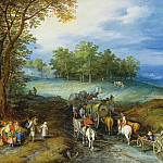 Landscape with rider, farmers cart-feeders on road, Jan Brueghel The Elder