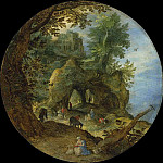 Jan Brueghel The Elder - Rocky Landscape with the rest on the flight to Egypt and Forest Landscape with the Temptation of Christ