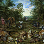 Wooded Landscape with Nymphs and hunting, Jan Brueghel The Elder