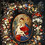 The Virgin, the Child Jesus and angels amid a garland of flowers, Jan Brueghel The Elder