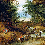 Forest Landscape with travelers and cart makers at a flooded road, Jan Brueghel The Elder