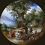 Jan Brueghel The Elder - Forest road with carts and pig drover