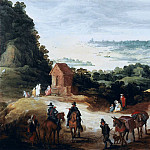 Extensive river landscape with travelers, Jan Brueghel The Elder