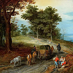 Cart and peasants on a path, Jan Brueghel The Elder