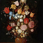 Jan Brueghel The Elder - STILL LIFE WITH TULIPS, IRISES, NARCISSI AND FRITILLARIA IN A CLAY VASE