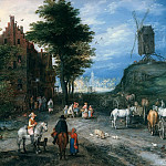 Jan Brueghel The Elder - Entrance to Village with Windmill