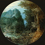 Forest landscape with a castle on the cliff, Jan Brueghel The Elder