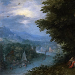 Jan Brueghel The Elder - River Landscape with the Rest on the Flight
