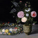 Still life of flowers in a vase and a wreath, Jan Brueghel The Elder