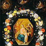 Jan Brueghel The Elder - Holy Family in a flower garland