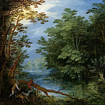 Jan Brueghel The Elder - A WOODED LANDSCAPE WITH SPORTSMEN
