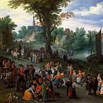 Jan Brueghel The Elder - Village Landscape with Self-portrait