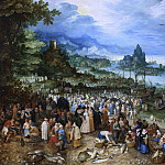 Jan Brueghel The Elder - Seaport with Christs Sermon