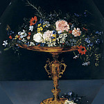 Jan Brueghel The Elder - STILL LIFE WITH FLOWERS IN A GILT TAZZA