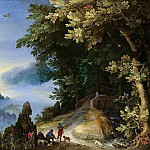 Jan Brueghel The Elder - A Mountainous River Landscape With Travellers