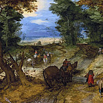 Jan Brueghel The Elder - Forest Road with Travellers