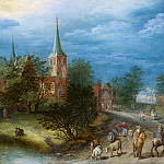 Jan Brueghel The Elder - Country landscape with travellers