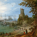 Jan Brueghel The Elder - A harbour scene with watchtower and fishermen unloading their catch