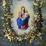 Jan Brueghel The Elder - The Virgin And Child Encircled By A Garland Of Flowers Held Aloft By Cherubs
