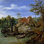 Jan Brueghel The Elder - Landscape with the village by the river