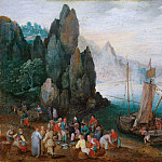 Jan Brueghel The Elder - A coastal landscape with fish market