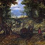 Jan Brueghel The Elder - Bosque con carretas atraversando un arroyo y jinetes